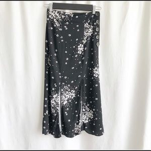 Free People black with white floral skirt
